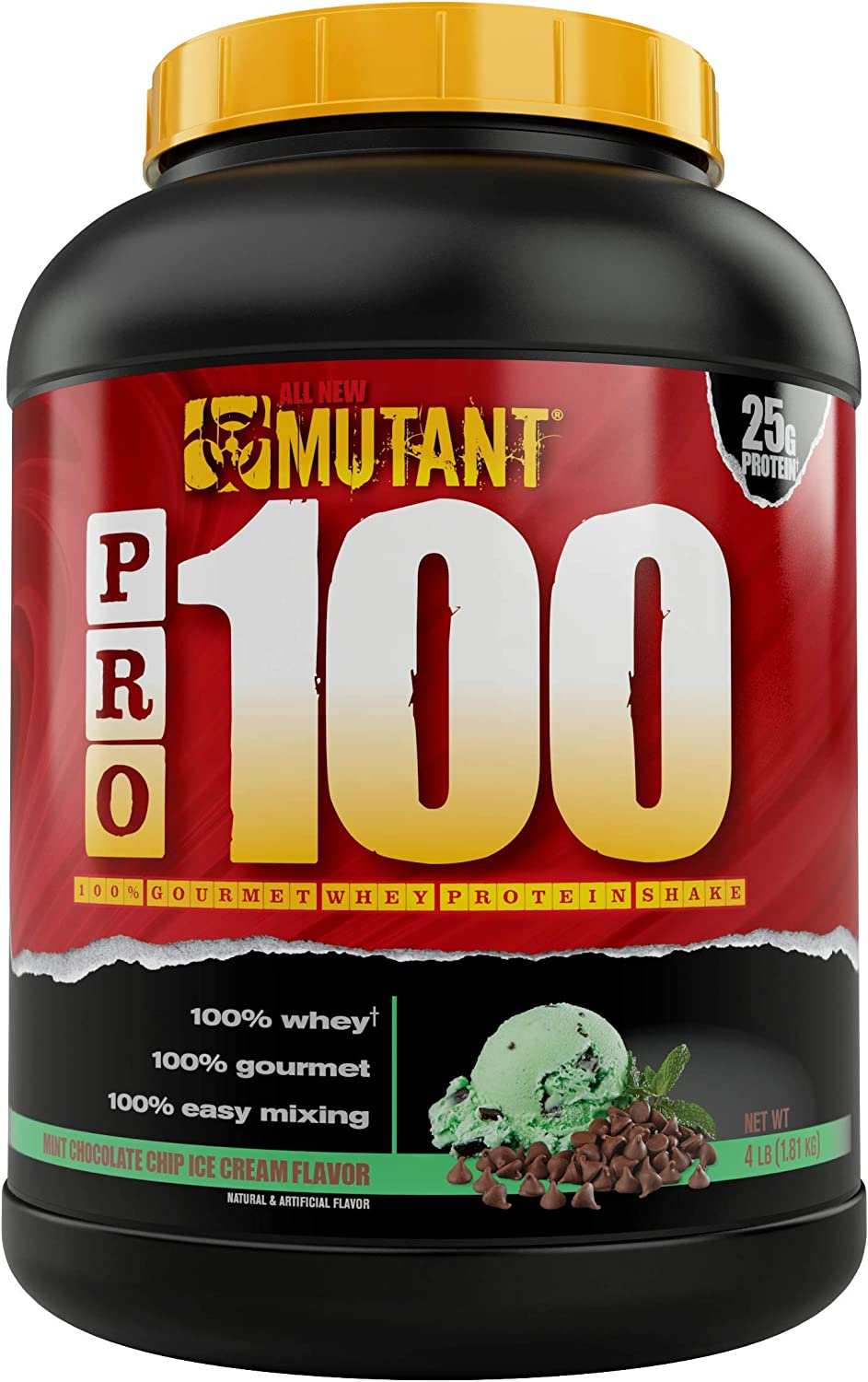 Mutant Pro 100 100 Whey Protein Shake with No Hidden Ingredients Comes in Delicious Gourmet Flavors 4 lbs Mint Chocolate Chip Ice Cream