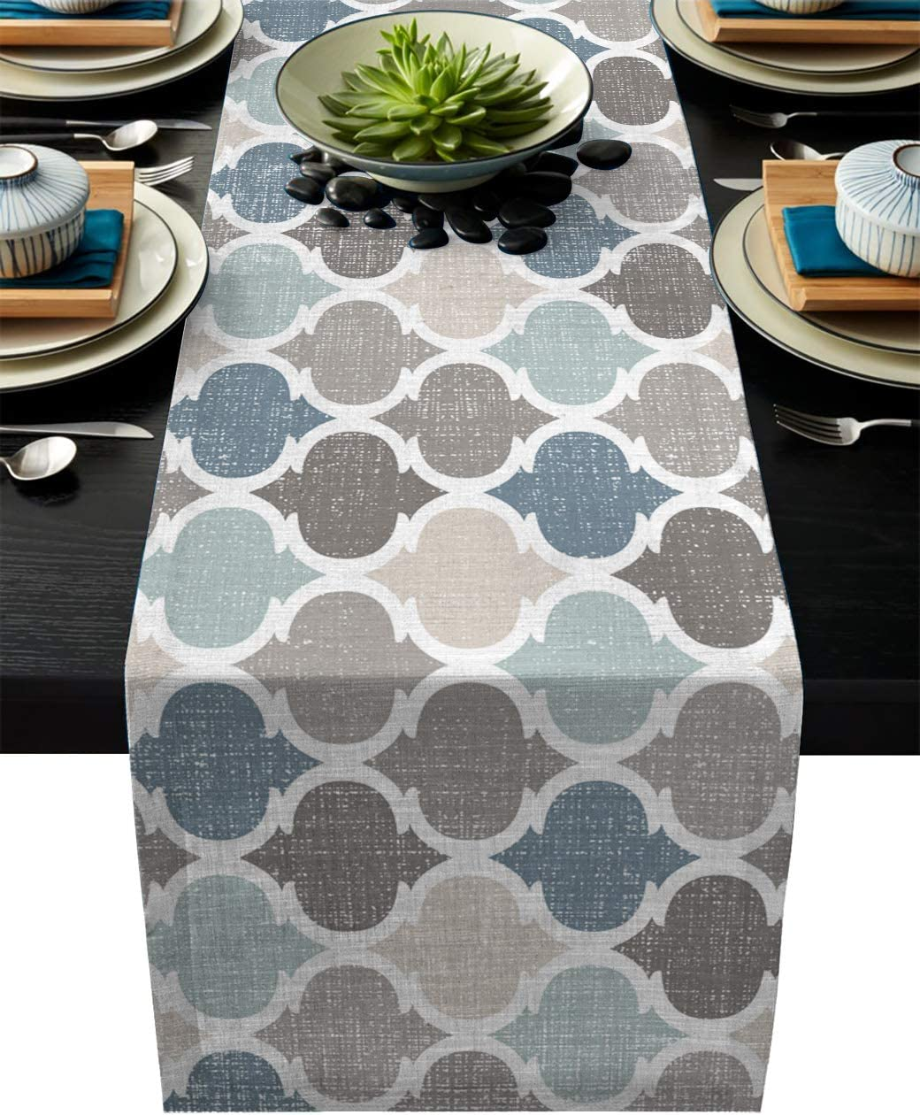 Cotton Linen Table Runner Dresser Scarves Morocco LidoQuatrefoil Geometric Pattern Non-Slip Burlap Rectangle Table Setting Decor for Wedding Party Holiday Dinner Home , (13X90 Inch) Blue Beige Brown