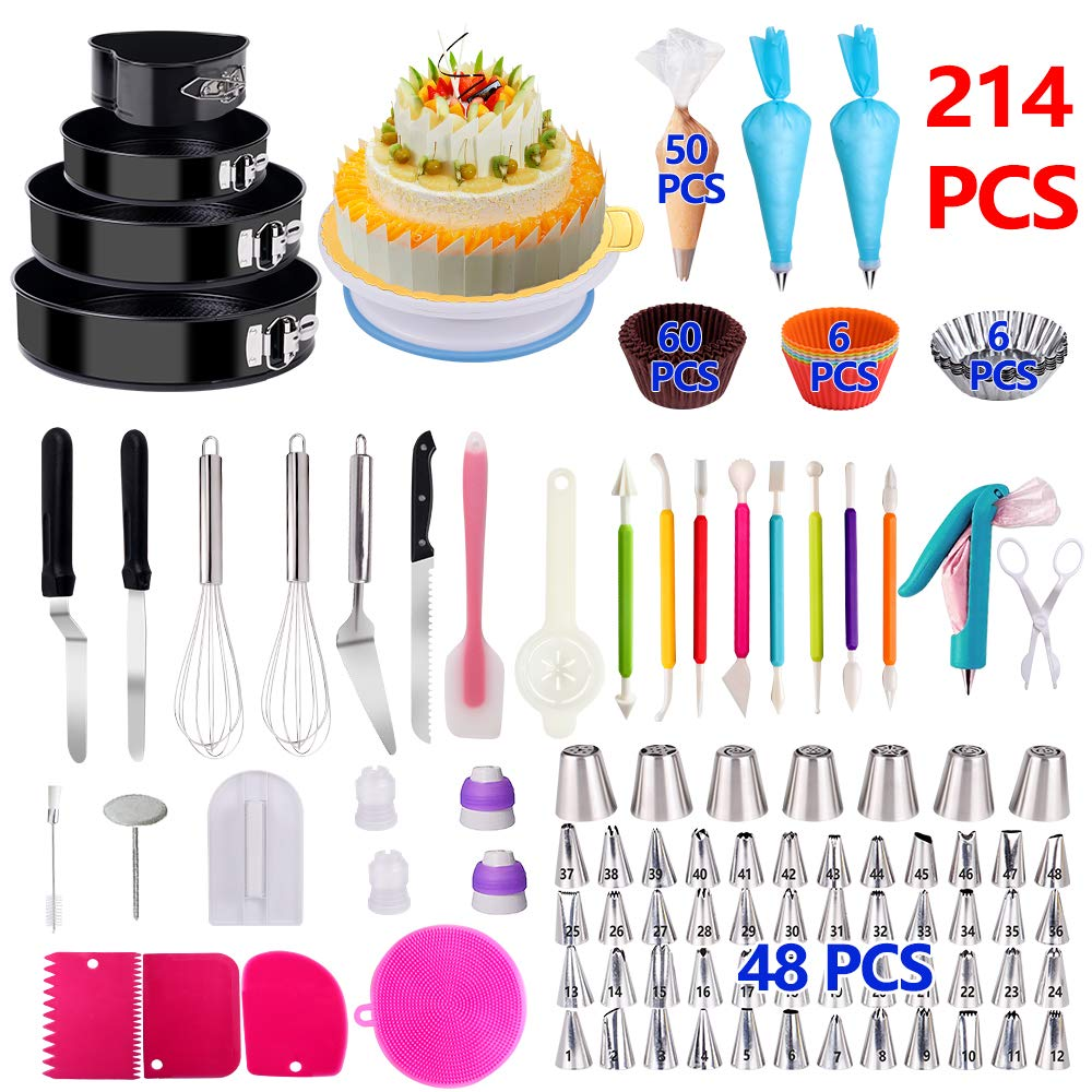 Cake Decorating Supplies,214 PCS Baking Set with Springform Cake Pans Set, Cake Rotating Turntable, Cake Decorating Kits, Muffin Cup Molds, Perfect Cake Baking Supplies for Beginners and Cake Lovers by KOSBON
