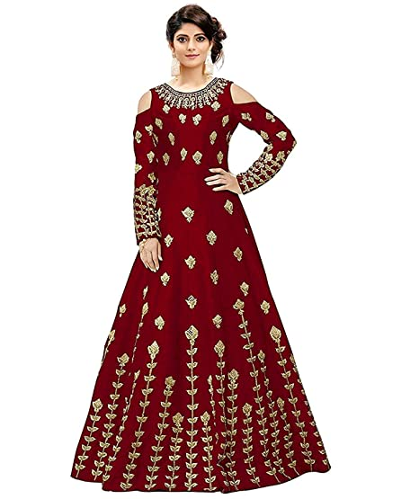 5470493b921a Bahubali Creation Women s Taffeta Silk Anarkali Gown(Maroon)  Amazon.in   Clothing   Accessories