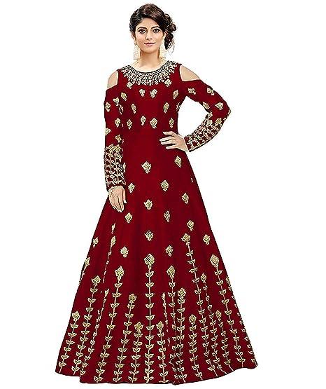 e01279d1c46 Bahubali Creation Women s Taffeta Silk Anarkali Gown(Maroon)  Amazon.in   Clothing   Accessories