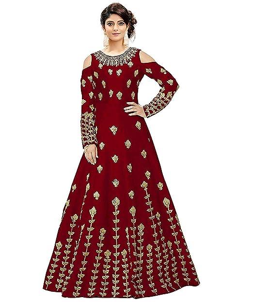 fa69b400bbc Dk   JJ Fashion Women s Taffeta Silk Embroidered Semi-Stitched Anarkali Gown