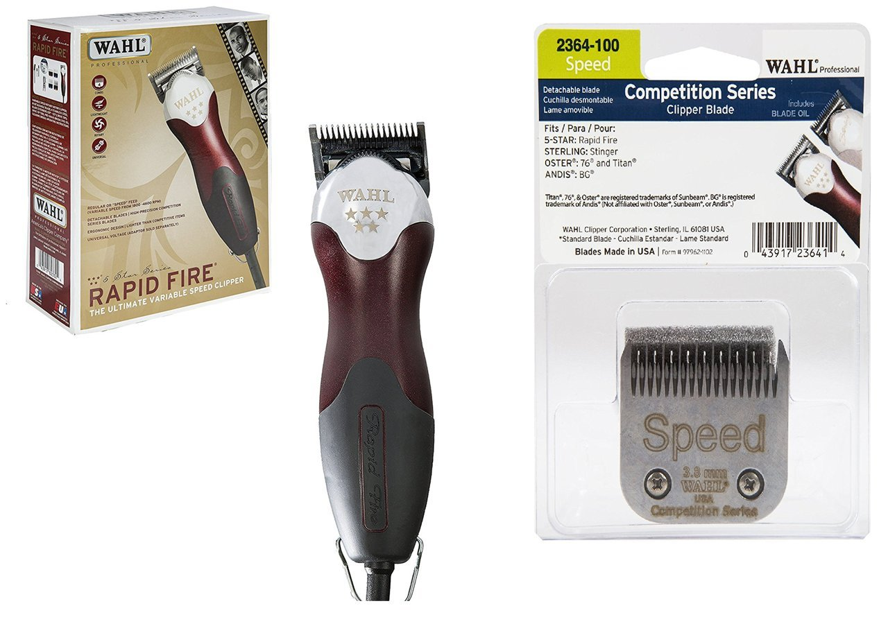 MGS WAHL Bundle Professional Five Star Rapid Fire Clipper #8233-200 – Great for Professional Stylists and Barbers – Variable Speed Rotary Motor, Red & CL-2364-100 UPC: 043917823324 & UPC: 043917236414