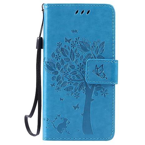 LMAZWUFULM Hülle für Huawei LUA-L21 /Y3 II 4,5 Zoll PU Leder Magnetverschluss Brieftasche Lederhülle Baum und Katzen Muster S