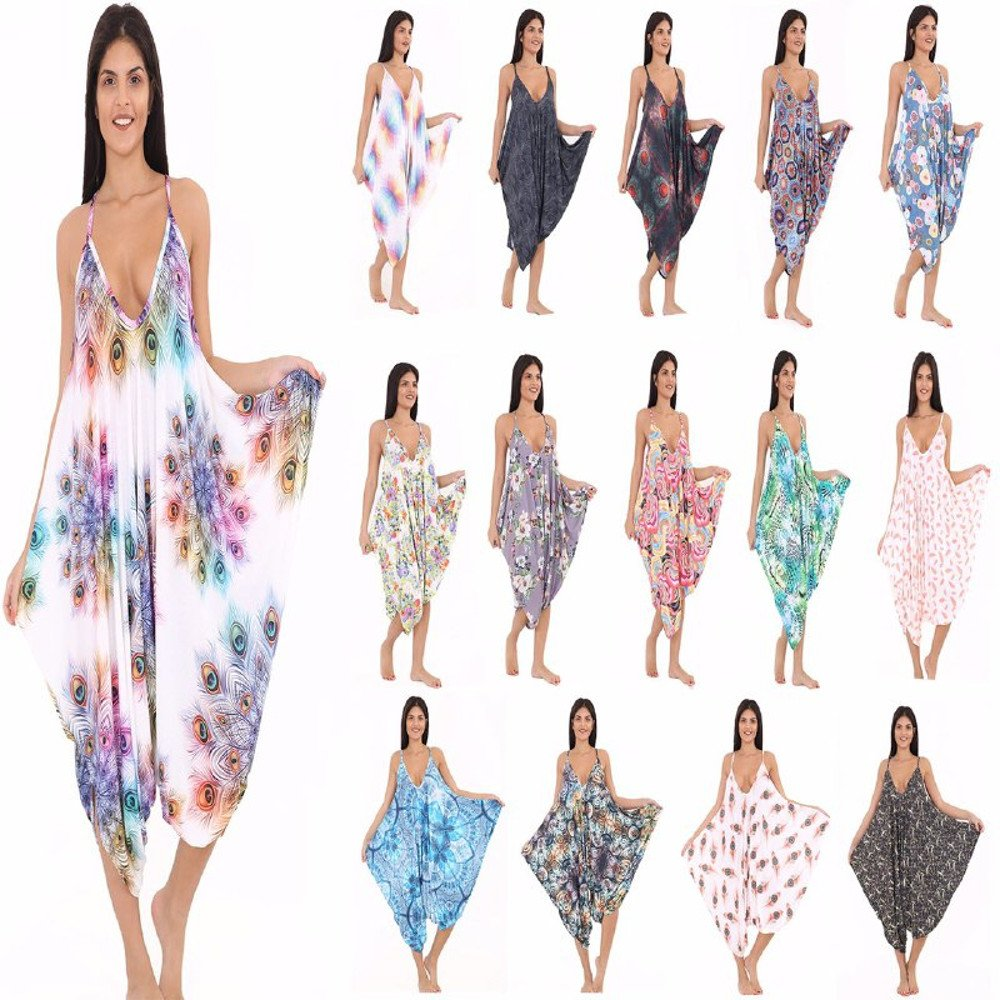 7bf9730fc72 R KON Women s Printed Thin Strap Lagenlook Romper Baggy Harem Jumpsuit  Playsuit (One Size Fit 8-26