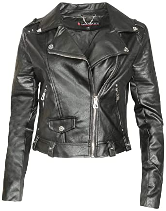 804842e344608 Urban Republic Women Faux Leather Moto Biker Jacket with Studded Detailing