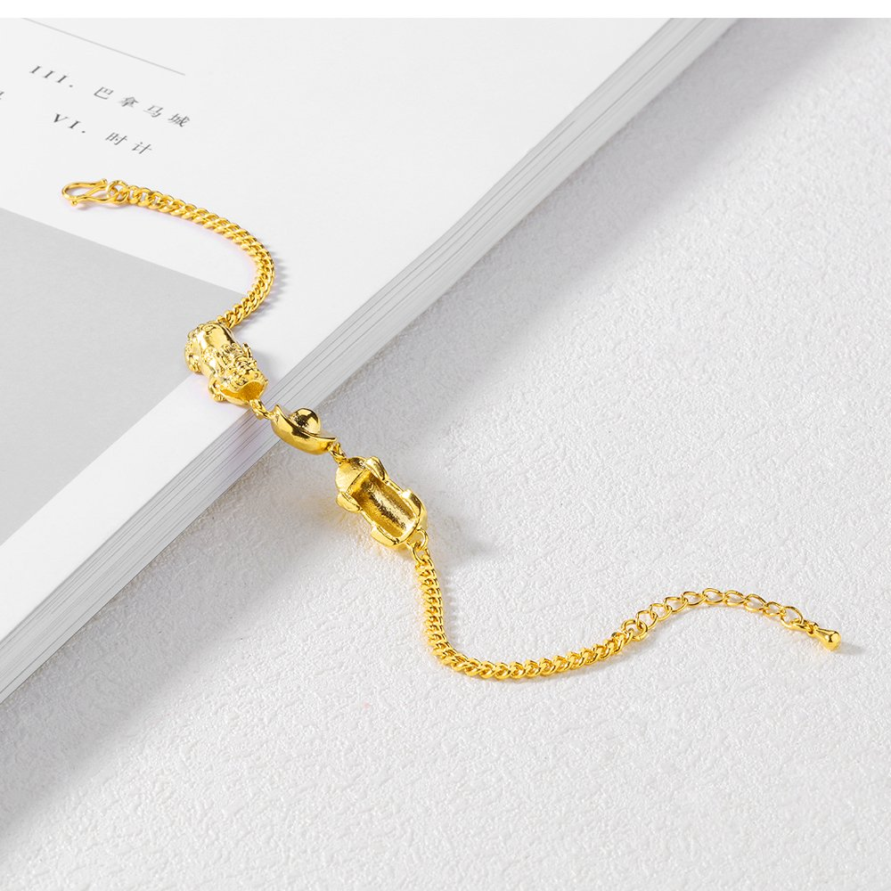 FCZDQ 18K Gold Plated Tigers and Gold Ingot Wristband Bangle Womens Cuff Link Bracelet