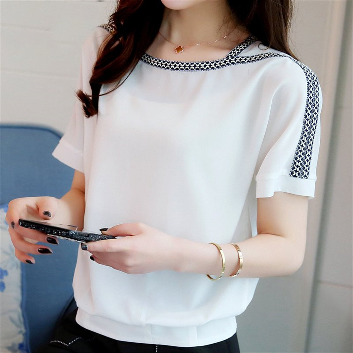 OUXIANGJU Women New Summer Chiffon Shirts Batwing Sleeve Tops Casual Embroidery Plus Size Blouses at Amazon Womens Clothing store: