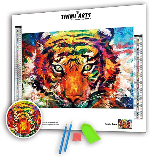 TINMI ARTS 5D Diamond Painting Partial Drill Kits for Adults DIY Mosaic Cross Stitch Pattern Handmade Embroidery Kits Wall D/écor 12X16 Deer and Forest