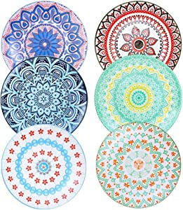 Farielyn-X 6 Pack Porcelain Dinner Plates - 10.5 Inch Diameter - Pizza Pasta Serving Plates Dessert Dishes - Microwave, Oven, and Dishwasher Safe, Scratch Resistant - Set of 6
