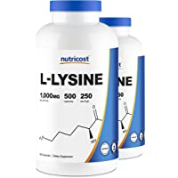 Nutricost L-Lysine 500mg (1000mg Serving), 500 Capsules (2 Bottles)