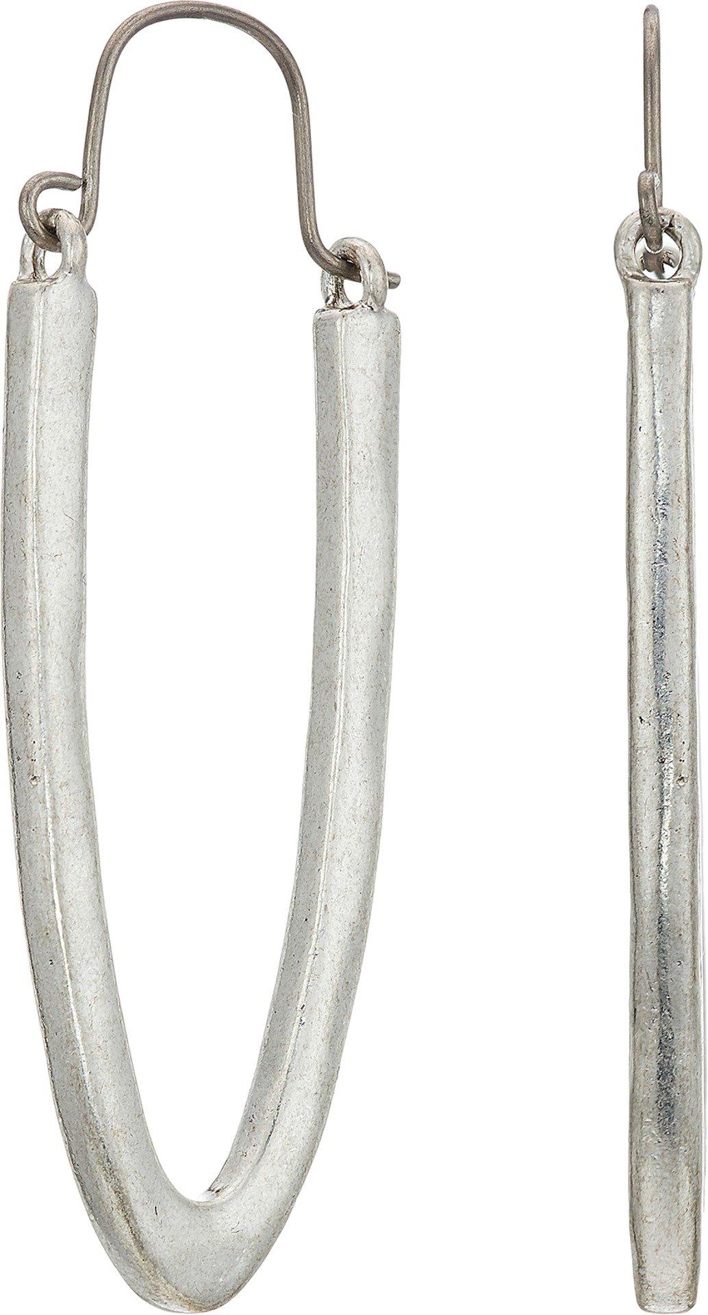 Lucky Brand Women's U Shape Hoop Earrings Silver One Size