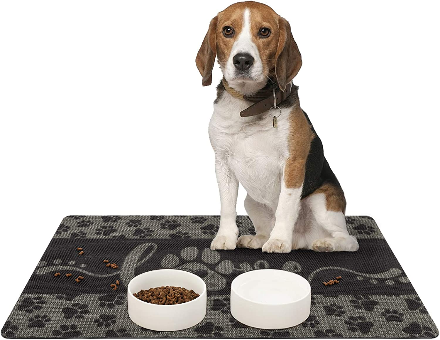 Asrug Dog and Cat Food Mat Washable Dog Mat for Food and Water Non Slip Pet Food Bowl Mat