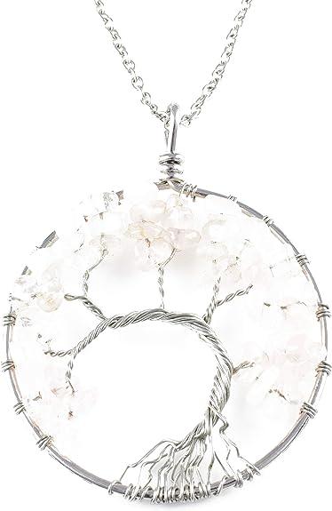 Con Piedra /& inicial en Caja De Regalo Árbol De La Vida Collar De Plata Esterlina,