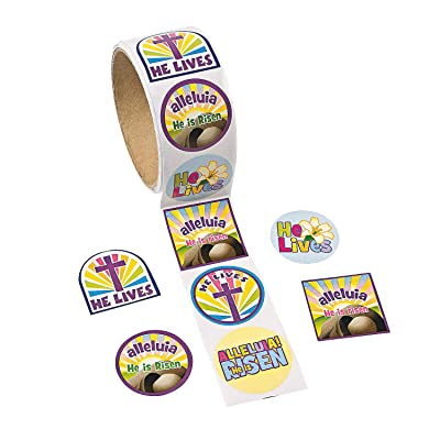 Fun Express - He Lives Stickers for Easter - Stationery - Stickers - Stickers - Roll - Easter - 1 Piece: Toys & Games