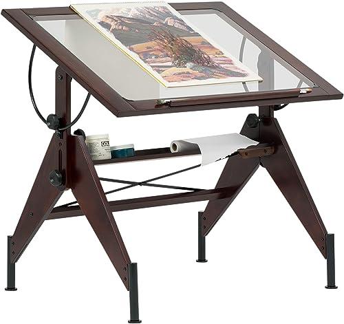 STUDIO DESIGNS Aries Glass Top Drafting Table Sonoma Dark Walnut Brown Clear Glass 13310