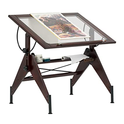 Gentil STUDIO DESIGNS Aries Glass Top Drafting Table Sonoma Dark Walnut  Brown/Clear Glass 13310