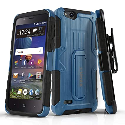 Phone Case for [ZTE ZFIVE G LTE (Z557BL) / ZTE ZFIVE C LTE (Z558VL)], [MAX  Series][Blue] Cover with [Kickstand] & [Belt Clip Holster] (Tracfone,