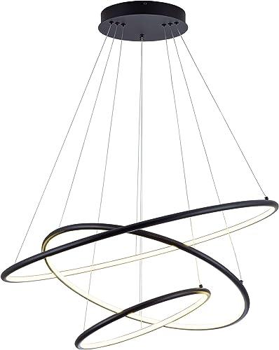 SUNMOO LED Pendant Light Modern Chandelier Led 3-Ring Adjustable Hanging Chandelier Light