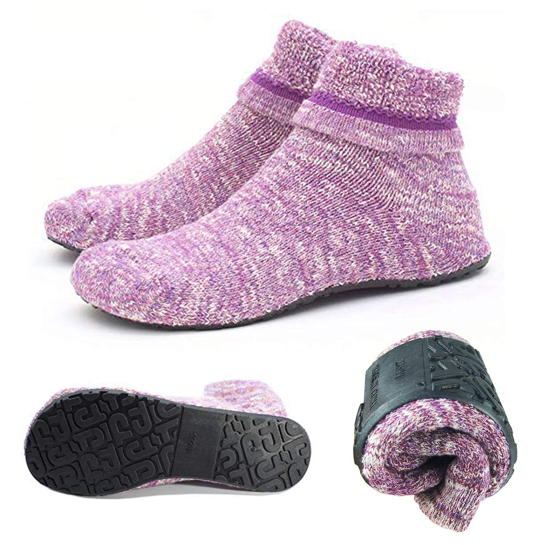 Womens Slipper Socks Cozy Indoor Socks Winter Warm Thicken Floor Socks With Grippers,Size:4-9.5 DBW