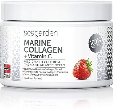 Polvo de colágeno marino noruego + vitamina C | Sabor a fresa | Péptidos hidrolizados |