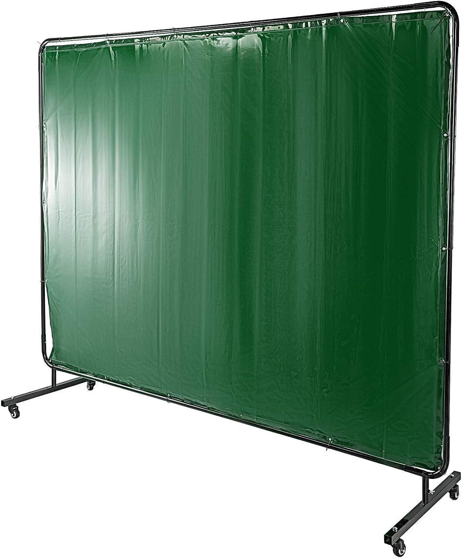 VEVOR Rideau de Soudure de 6 pi x 8 pi Rideau /écran protection soudure rideau protection de soudage Vinyle ignifuge avec cadre vert