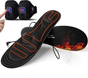 Heated Insoles with Power Display,Gimilife Heated Foot Warmer Insole for Man Woman with Rechargeable Battery Powered,Adjustable Temperature Electric Pads on Skiing Hunting Hiking Camping S