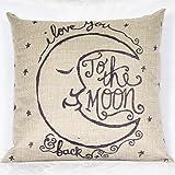 kingtoys® Moda Federa Cuscini Vintage di Stampato Cotone Lino Divano Federa Cuscino (Moon/ Black)