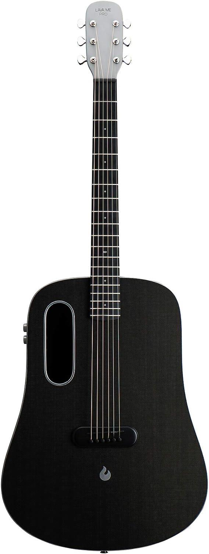 LAVA ME PRO Guitarra de fibra de carbon con efectos Guitarra Profesional Acústica Eléctrica de Viaje con bolsa y Cable de carga (FreeBoost, Espacio Gris, 41 Inch)