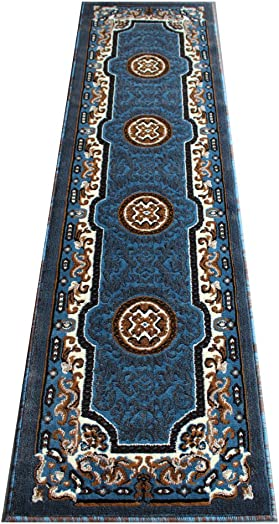 Traditional Area Rug Runner Design Kingdom D 123 Blue Brown 2 Feet X 7 Feet