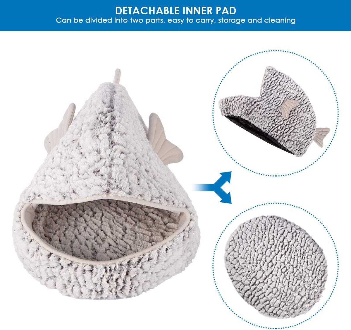 forma de pez dorado c/álido cueva lavable acogedor SOONHUA Cama para mascota saco de dormir con coj/ín extra/íble