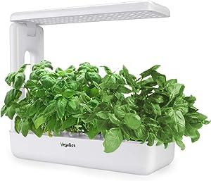 VegeBox Smart LED Hydroponics Growing System, Indoor LED Lighting Herb Garden Plant Germination Kits (Kitchen-Box, White)