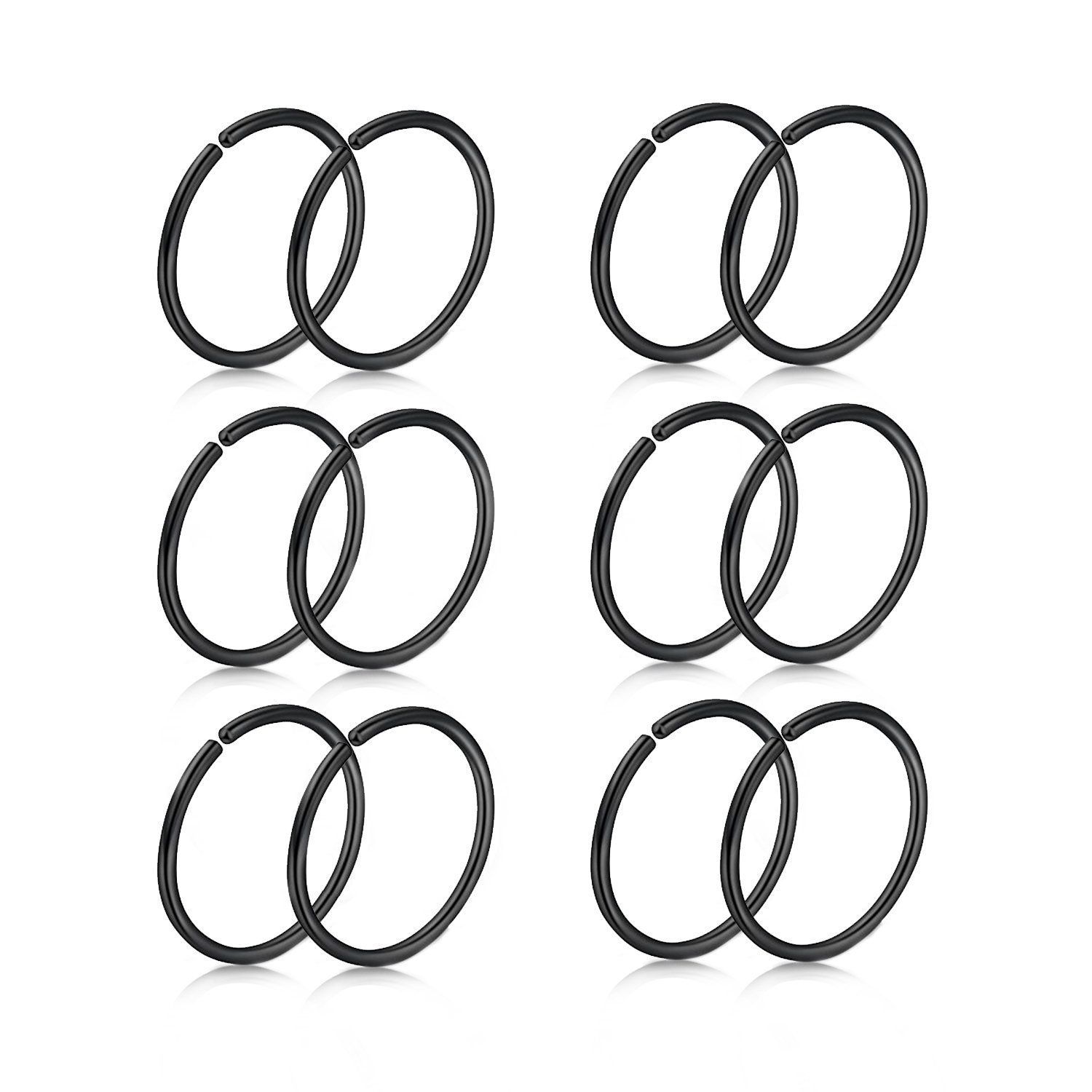 Briana Williams Fake Nose Ring Hoop Septum Lip Helix Cartilage Tragus Earring Clip Hoop Rings- 12pcs 20G 6mm 8mm 10mm 12mm Surgical Steel Faux Body Piercing Jewelry XKKS-10-4