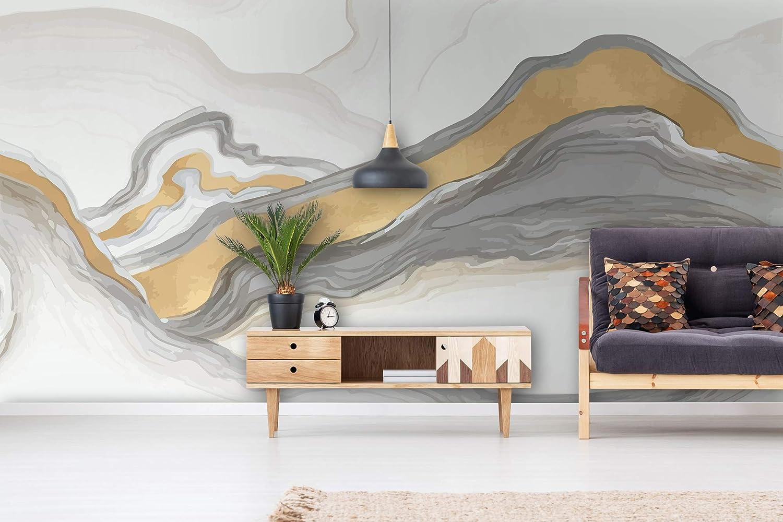 Abstract metallic Non-woven wallpaper black and gray wall mural design
