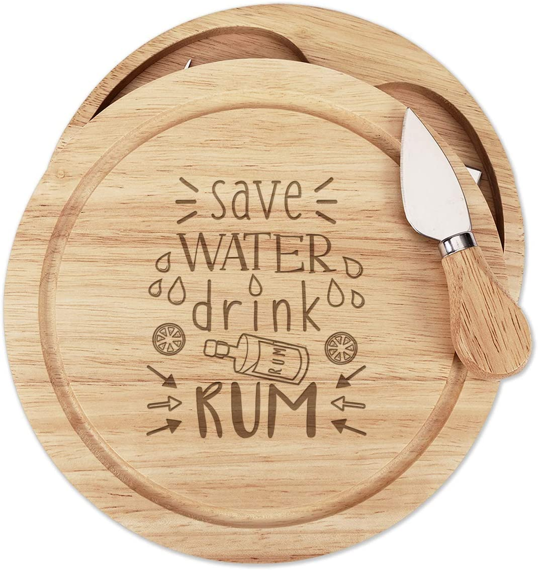 Save Beber Agua Ron Queso de Madera Tabla Juego 4 Cuchillos ...