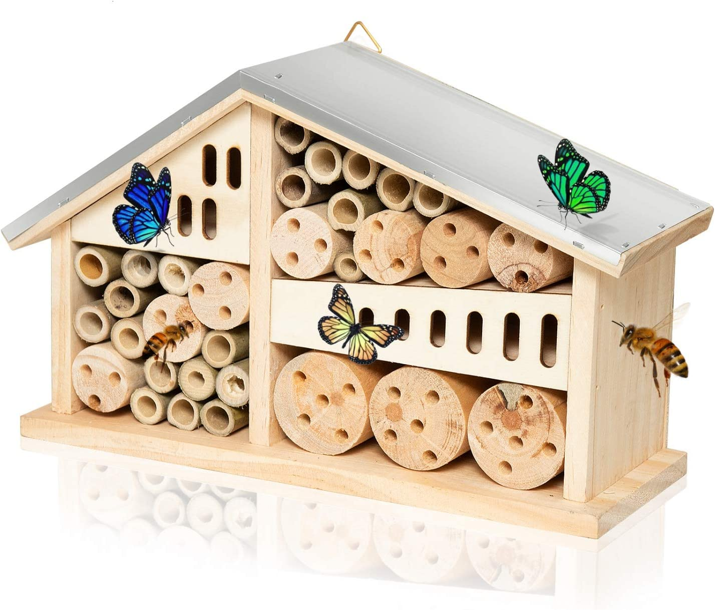 Vumdua Mason Bee House Hotel, Natural Wooden Bee Hive Pollinator Garden House Tube Nest for Mason Bee Bug Insect Butterfly - 10.63 x 3.66 x 6.11 Inch