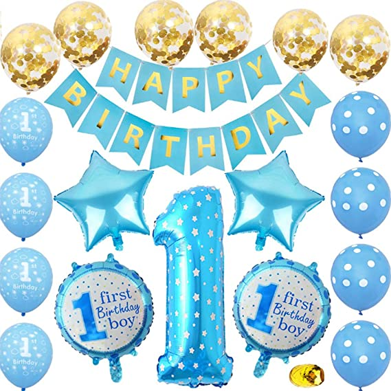 Svnntaa 1st Birthday Decorations Boys Blue First Birthday Party Decorations Number 1 Balloon Amazon Ca Clothing Accessories
