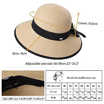 Straw Sun Hat Fedora Women Summer Beach Wide Brim Packable Panama