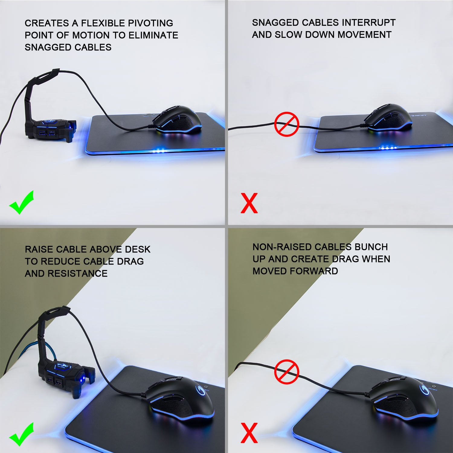 Gaming Mouse BungeeCord Holder with 4-Port USB HUB, NPET H01 LED Lighting Mouse Cable Manager, Non-Slip Rubber Pads Base, Clamping Arrangements, Designed for Pro Esports, Competitive Games by NPET (Image #4)