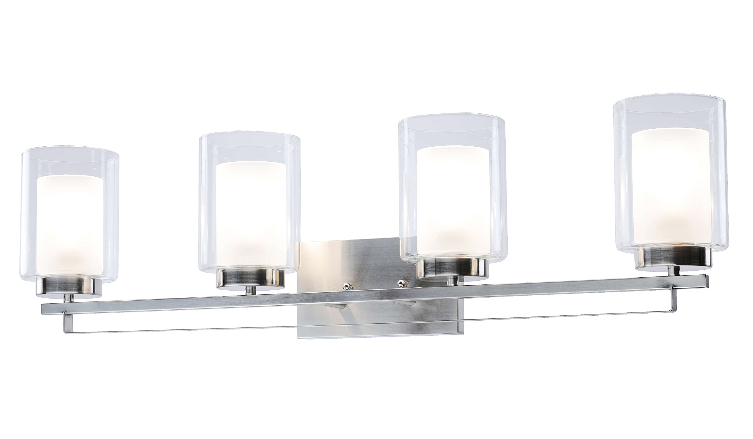 Wall Light 4 Light Bathroom Vanity Lighting with Dual Glass Shade in Brushed Nickel Indoor Modern Wall Mount Light for Bathroom & Kitchen XiNBEi-Lighting XB-W1195-4-BN by XiNBEi Lighting (Image #1)