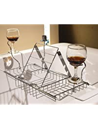 YAONIEO Bathtub Caddy Tray Stainless Steel Bath Reading Rack With  Extendable Sides Wine Glass Book Holder