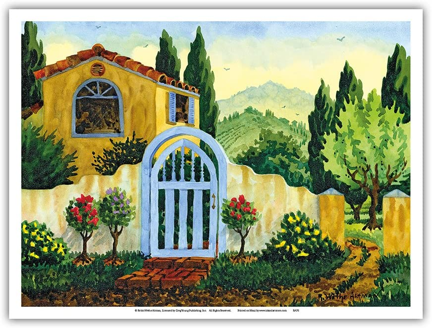 Tuscan Homestead - Tuscany Italy - - from an Original Watercolor Painting by Robin Wethe Altman - Master Art Print 9in x 12in