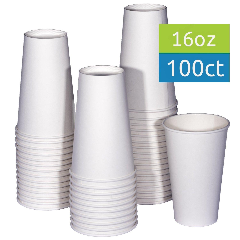 TashiBox 16 oz White Hot Drink Paper Cups - 100 count - Coffee, Tea, Hot Cocoa