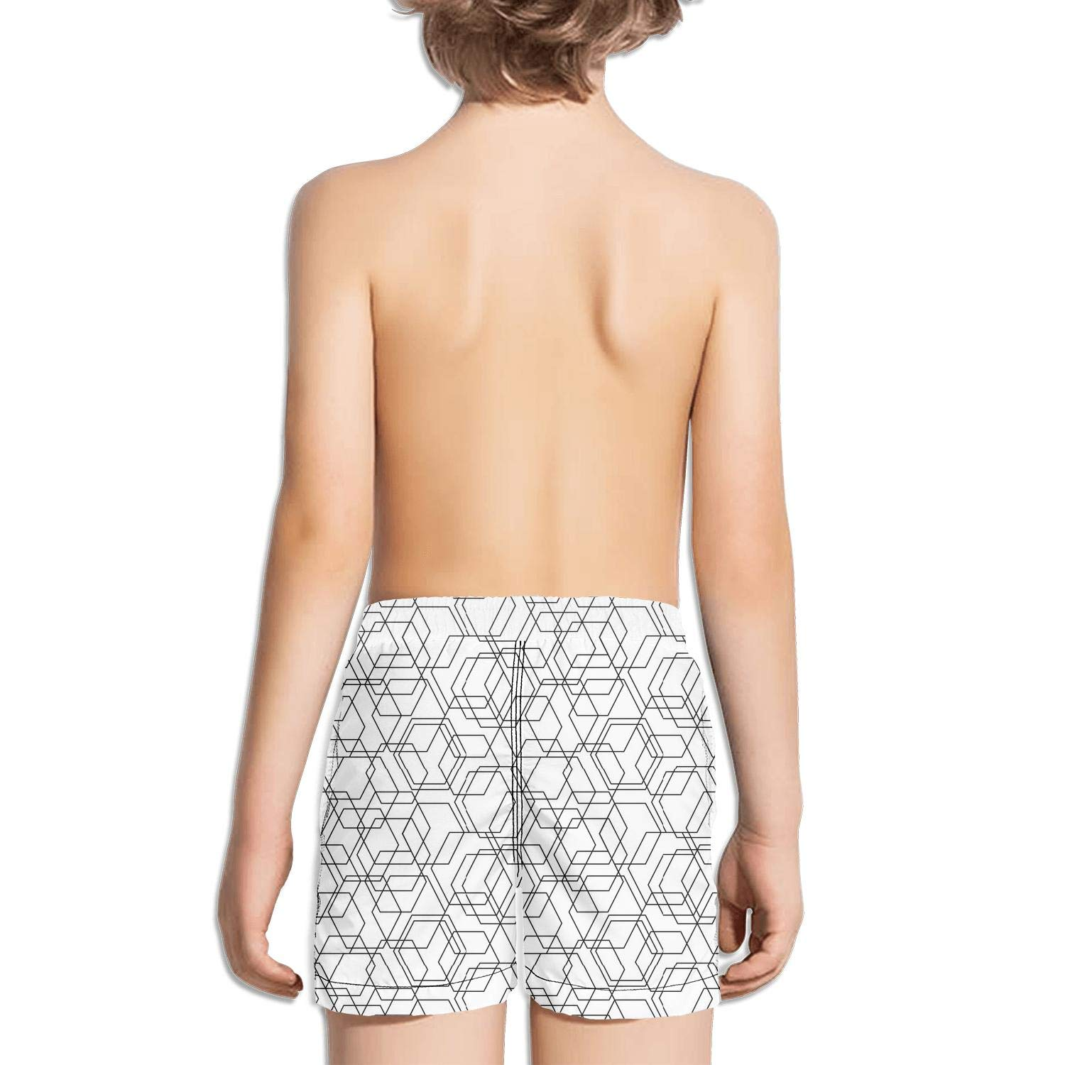 Geometric Abstract Stripe White and Black Fashion Swim Trunks BingGuiC Boys Quick Dry Shorts
