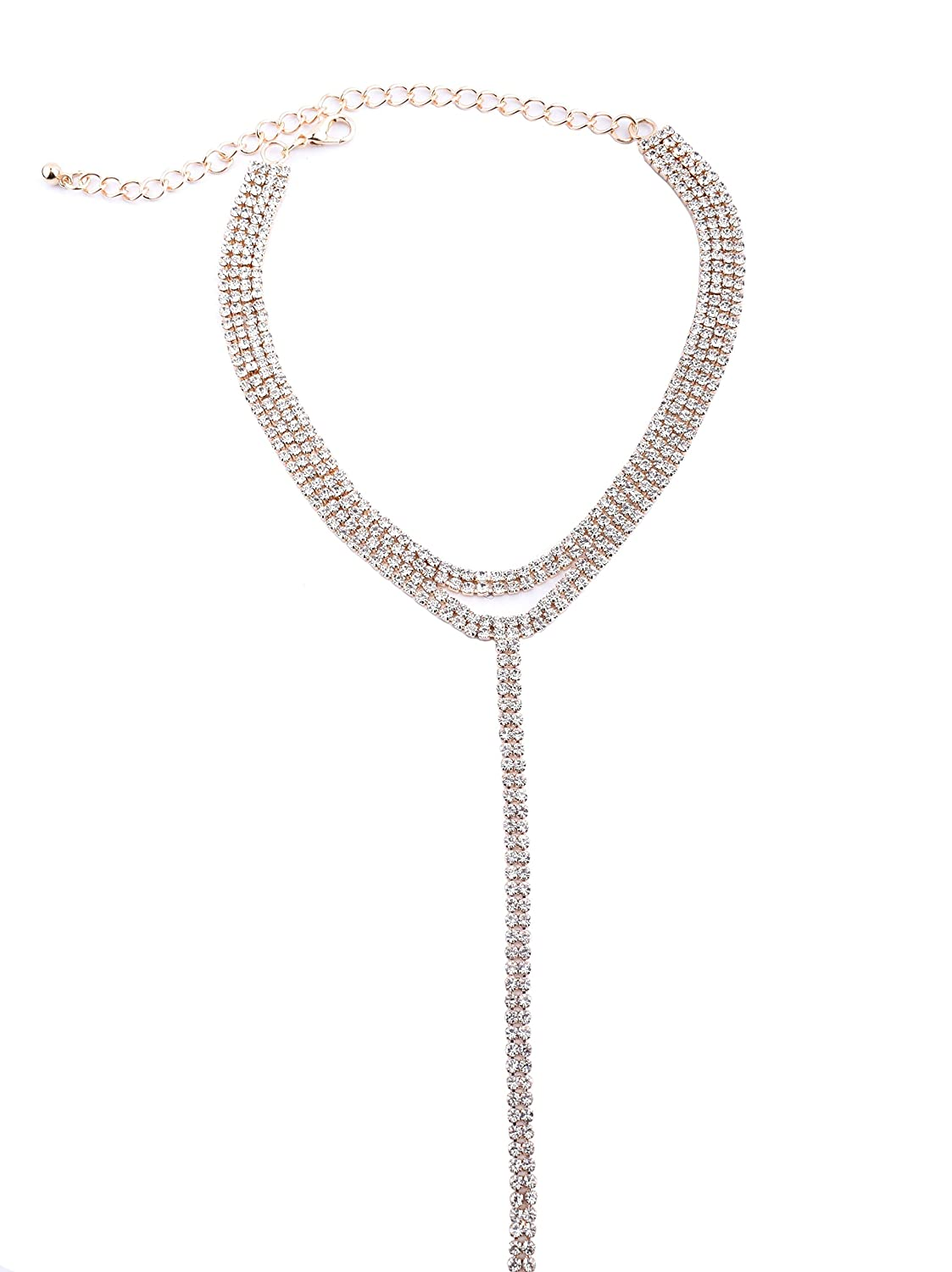 Rivertree Diamante Lariat Collar Necklace with Long Tail Body Chain For Women aAU4wsnJ