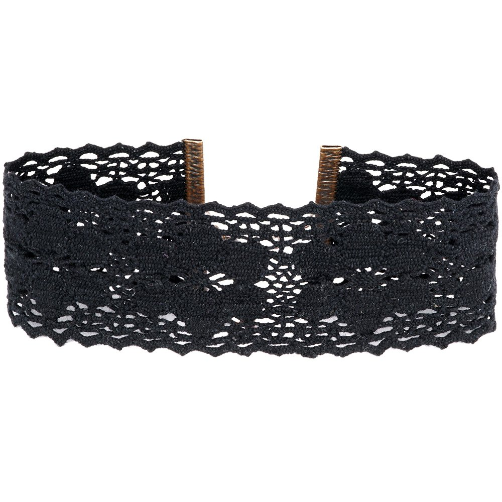Twilight's Fancy Wide Floral Cluny Lace Choker Necklace (Black, Small)