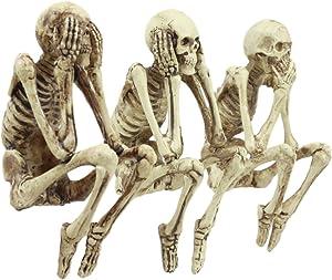 "Ebros Whimsical See No Evil Hear No Evil Speak No Evil Skeletons Shelf Sitter Figurines 3.75"" Tall"