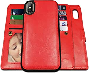 iPhone X Case,iPhone Xs Case Wallet with Magnetic Detachable Case,9 Card Slots,Wrist Strap, CASEOWL 2 in 1 Folio Flip Premium PU Leather Wallet Case for iPhone X/XS/10/10s 5.8 inch (Red)