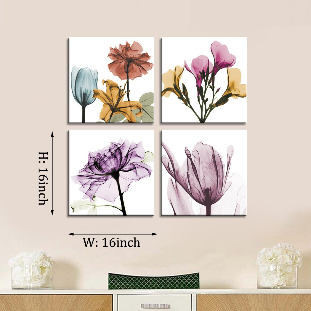 YPY Multi Color Wall Decor Elegant Floral Flowers Abstract Modern Artwork Print on Canvas 4 Pcs Wooden Frame Ready to Hang for Living Room Bedroom Bathroom 16×16