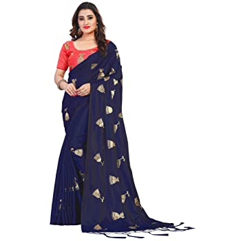 Vastrang Paper Silk Embroidered Saree With Tassels & Blouse